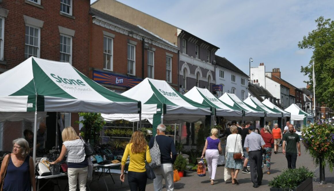 Stone High Street Market stalls